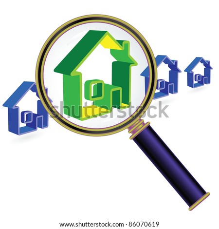 House sign under magnifier glass. Real Estate Concept.