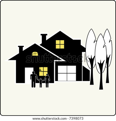 house silhouette with family