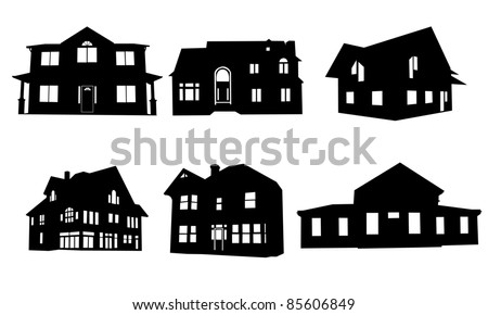 stock-vector-house-silhouettes-isolated-on-white