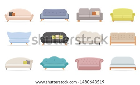 House sofa. Comfortable couch, minimalist modern sofas. Luxury classic apartment furniture, comfortable domestic interior decor sofa with pillow. Flat vector isolated illustration icons set