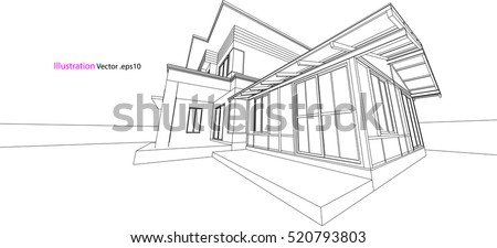 house structure architecture abstract drawing, 3d illustration vector