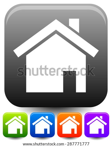 House symbols on rounded squares with highlight effect. Icons for suburban building, homepage, real estate themes.