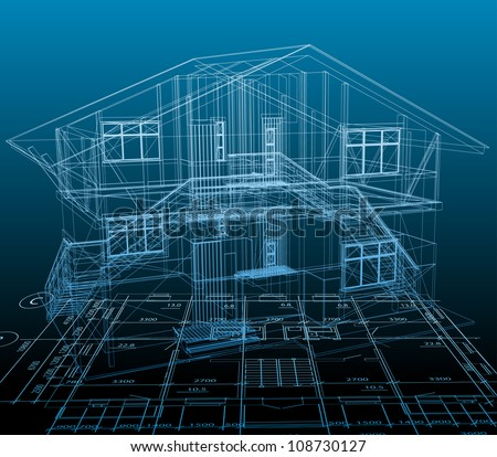 House technical draw. Vector blue background