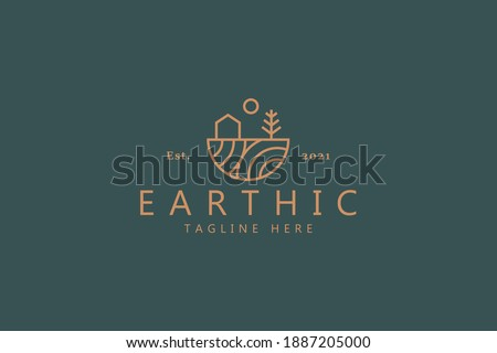 House Tree and Sun Illustration Simple Logo. Organic Life Style Branding Design Template Logo.