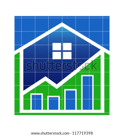 House Value up image. Vector icon