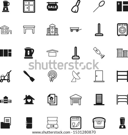 house vector icon set such as: teapot, truck, communicate, entrance, dishwasher, restaurant, napkin, cut, tissue, cold, kettle, broadcasting, housekeeping, heat, residence, feather, nobody, cuisine