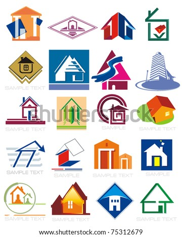 House vector Icons for Web. Construction or Real Estate concept. Abstract color element set