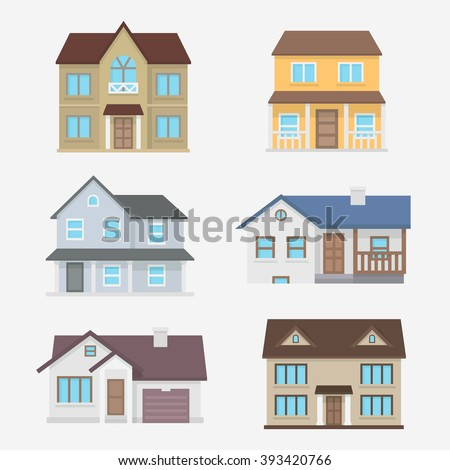House vector illustration. Home exterior set in flat style. House modern and traditional. Residential house collection isolated the background.