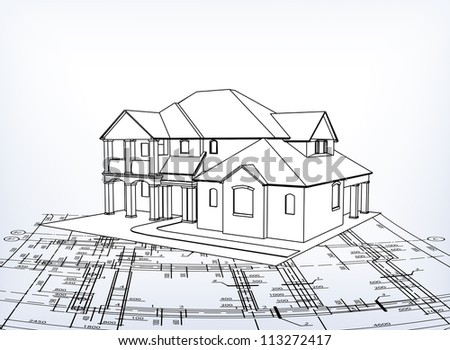 House. Vector technical draw