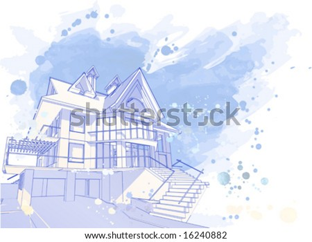 house vector watercolor draw