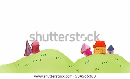 house village on hill vector