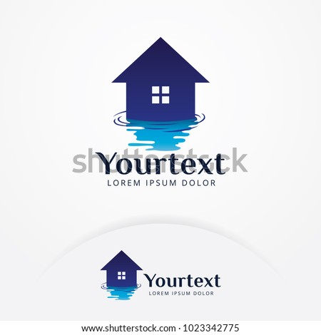 House water logo. Plumbing template. Plumber water home logo, symbol, icon design. Reflection from a house in the water. Vector illustration