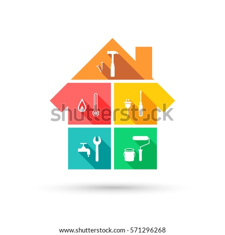 House with different tools as construction and maintenance concept in colorful flat design