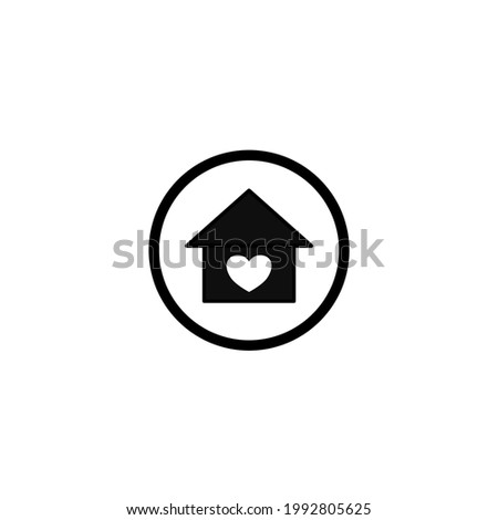 House with heart icon. Vector illustration for graphic design, Web, UI, app.
