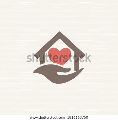 House with heart inside house and caring hand, vector sign. Symbol care for elderly at home, care logo template for loved ones, pensioners, injured, elderly and disabled. Isolated vector logotype