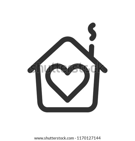House with heart shape within, love home symbol, line style vector illustration isolated on white background