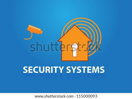 house with key holder symbol alarm and text security systems, security camera