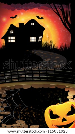 House with lighted windows  on a moon background and scary Jack O lantern