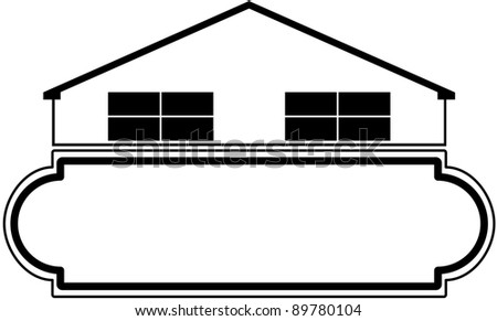 House with marquee style sign.  Ideal for real estate or home related business.