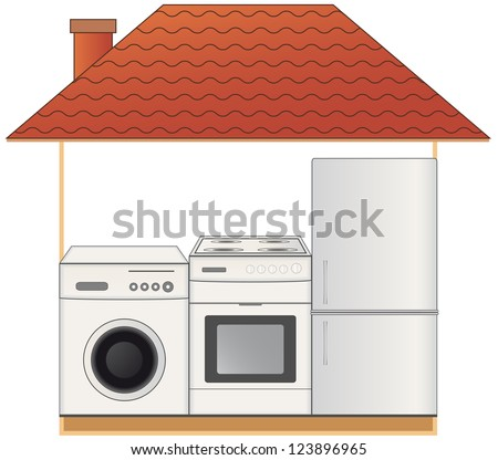 house with modern home appliances gas stove washing machine and refrigerator - Modern Home Appliances