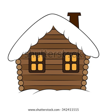 house with snow cartoon