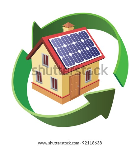 house with solar panels on white - stock vector