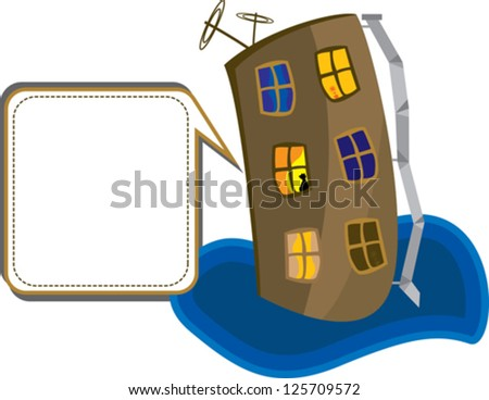 house with the windows and the speech bubbles