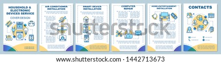 Household and electronic devices service brochure template layout. Flyer, booklet, leaflet print design with linear illustrations. Vector page layouts for magazine, annual reports, advertising posters