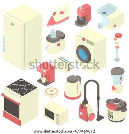 Household appliance icons set in cartoon style. Consumer electronics set collection vector illustration Stock photo ©