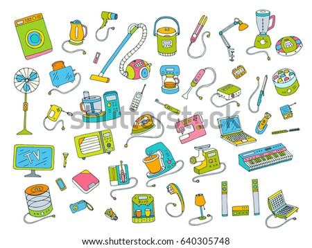 Household appliances doodle colored hand drawn big icons set. Vector illustration isolated from white background. Collection of equipment. Cartoon doodling style drawing. Symbols of electronic objects