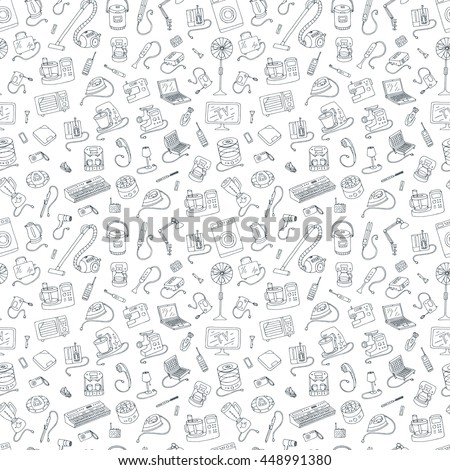 Household appliances doodle hand drawn seamless pattern. Vector line illustration isolated from white background. Collection of equipment. Cartoon doodling style drawing.