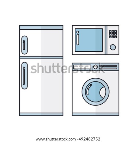 household appliances. fridge, microwave, laundry machine. vector illustration