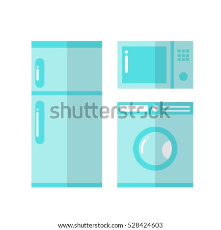 household appliances. fridge, microwave, laundry machine. vector illustration