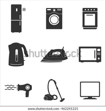 Household appliances icon. Household appliances Vector isolated on white background. Flat vector illustration in black. EPS 10 kettle vacuum iron refrigerator washing stove microwave dryer TV
