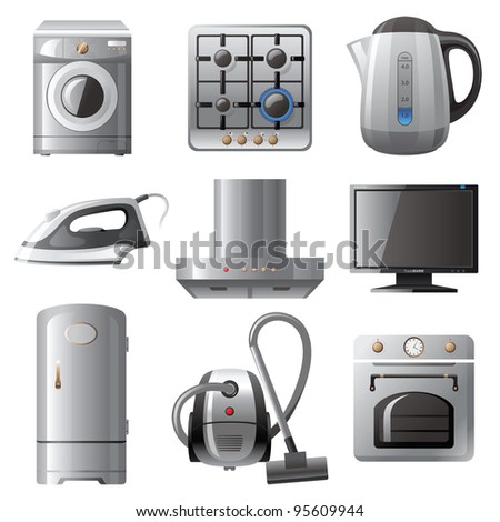 Household Appliances Icons Set Stock Vector 95609944 : Shutterstock