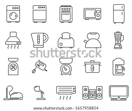 Household Appliances Or Electric Appliances Icons Black & White Thin Line Set Big