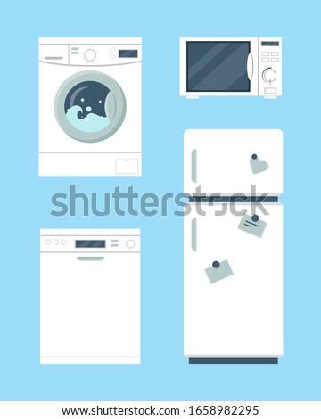 Household appliances set. Refrigerator,  washing machine, dishwasher machine and microwave on blue background. Vector illustration.