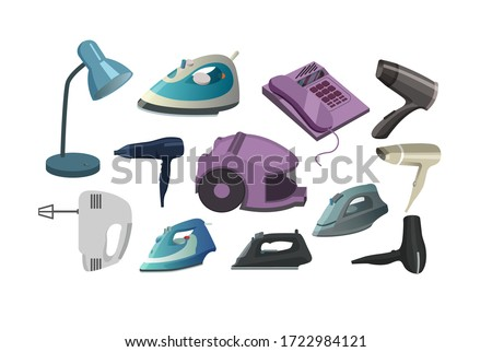 household appliances vector. household appliances vector illustration. household items. household items isolated. electric iron vector. House electric devices set. House electric appliances vector