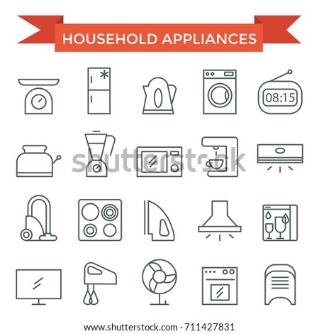 Household application icons, thin line flat design