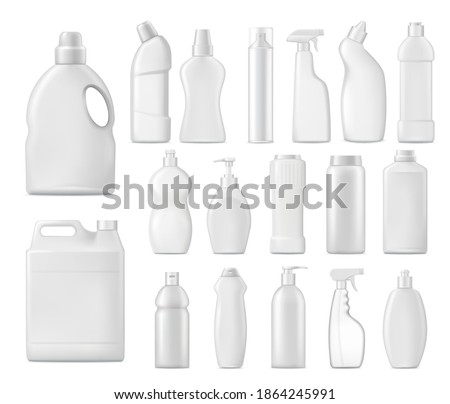 Household chemicals vector bottles, detergent blank packages mockup. White plastic tubes with handle, pump, sprayer for liquid soap, stain remover, realistic laundry bleach or cleaner isolated 3d set