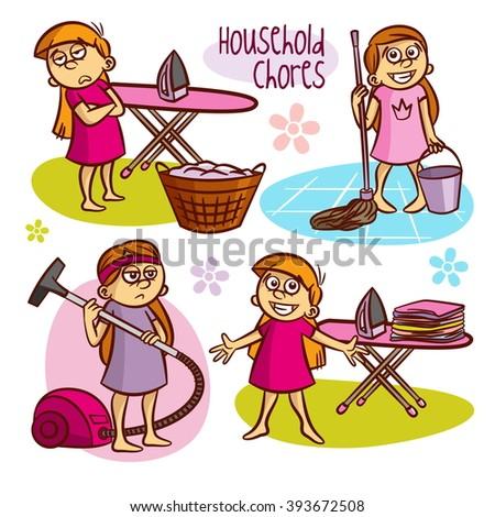 Household Chores Kids Vector Illustrations 393672508