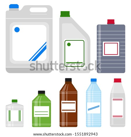 Household, construction chemicals, set of plastic bottles, solvent, white spirit, acetone, paint thinner, isolated on white background, vector illustration Stock photo ©