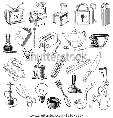 Household Home Objects Collection. Hand Drawing Sketch Vector Illustration - 131075837 ...
