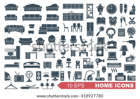 Household items. The furniture and appliances. Vector icons stock photo