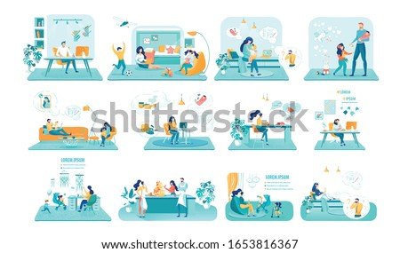 Household Occupations Vector Illustrations Set. Young Men and Women, Mothers and Fathers Cartoon Characters. Freelance Work, Side Jobs at Home and Household Business design elements pack