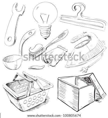 Household stuff set. Sketch vector objects isolated on white background