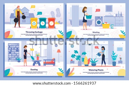 Housekeeping and Cleaning Works, Hotel Attendant Service Trendy Flat Vector Ad Banners, Posters Set. Worker Throwing Garbage, Maid Dusting, Housewife Washing Clothes, Watering Plants Illustration