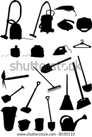housekeeping and garden implement vector