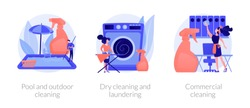 Housekeeping and maid service. Household, housework chores. Pool and outdoor cleaning, dry cleaning and laundering, commercial cleaning metaphors. Vector isolated concept metaphor illustrations.