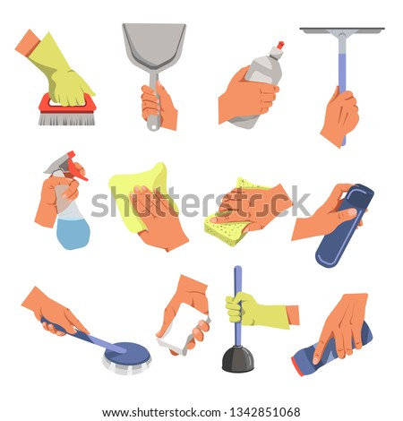 Housekeeping hands cleaning tools and means cleaning and household vector brush and scoop dishwashing liquid window cleaner sprayer and cloth sponge and air freshener soap and plunger clean powder #1342851068